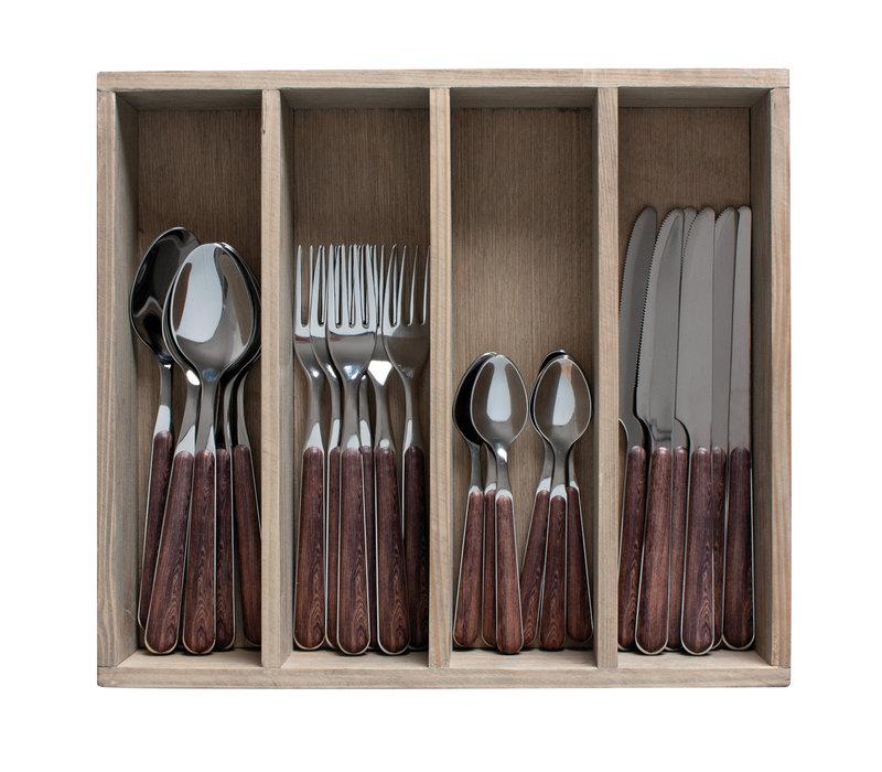 "Wood Style  24-teiliges Besteck ""Akazie"" in Holzbox"