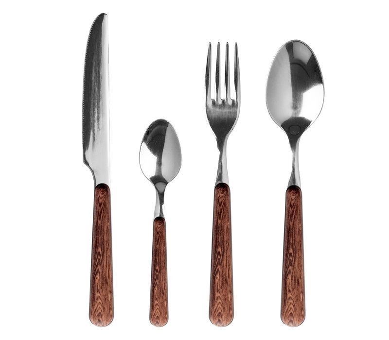 """Wood Style 24-delig Dinerbestek """"Acacia"""" in Kist"""