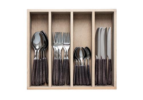 """Kom Amsterdam Wood Style 24-piece Dinner Cutlery """"Ebony"""" in Box"""