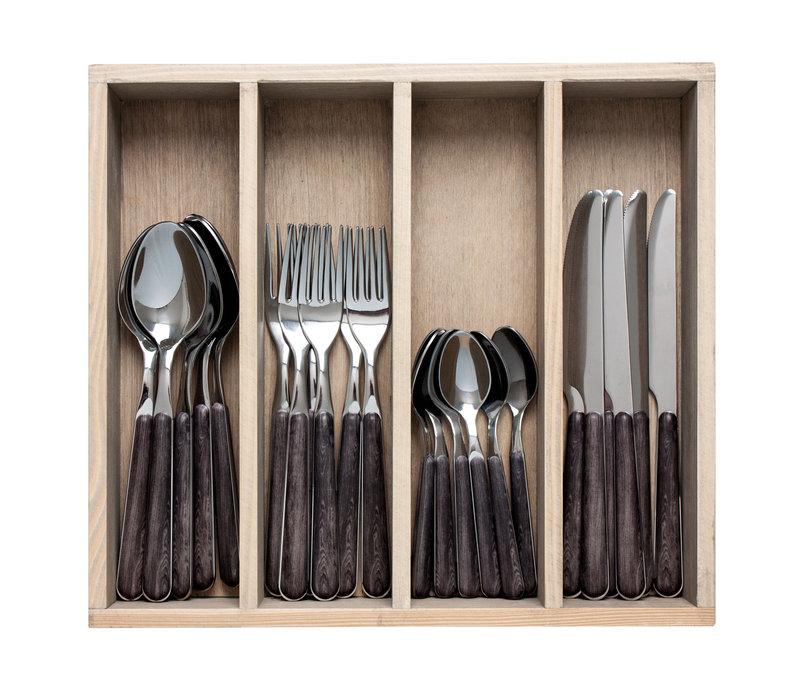 """Wood Style 24-delig Dinerbestek """"Ebbenhout"""" in Kist"""