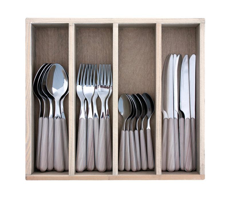 """Wood Style 24-delig Dinerbestek """"Esdoorn"""" in Kist"""