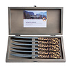 """Kom Amsterdam Wood Style 6 Steak Knives """"Panther"""" in Box"""