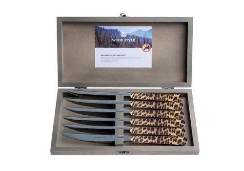 """Kom Amsterdam Wood Style 6 Steakmesser """"Leopard"""" in Kiste"""