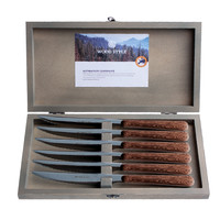 """Wood Style 6 Steakmesser """"Akazie"""" in Kiste"""