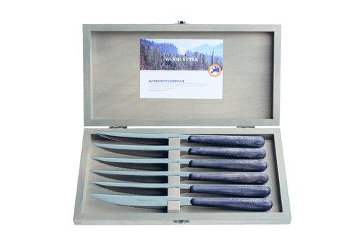 "Kom Amsterdam Wood Style 6 Steakmesser ""Ebenholz"" in Kiste"
