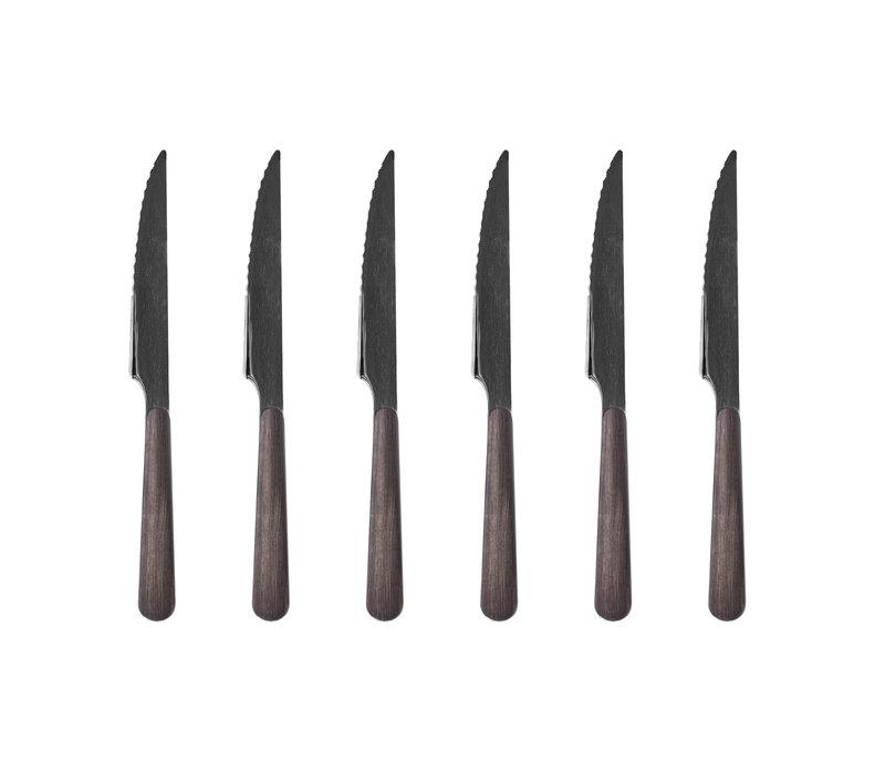 "Wood Style 6 Steakmesser ""Ebenholz"" in Kiste"