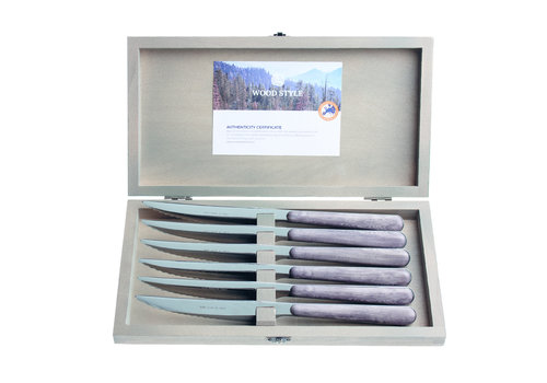 "Kom Amsterdam Wood Style 6 Steak Knives ""Rosewood"" in Box"
