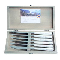 "Wood Style 6 Steak Knives ""Birch"" in Box"