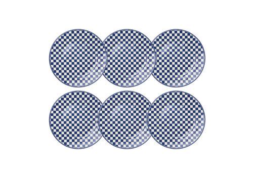 Dépôt d'Argonne Dépôt d'Argonne set 6 Dinner Plate 27cm Damier, Blue