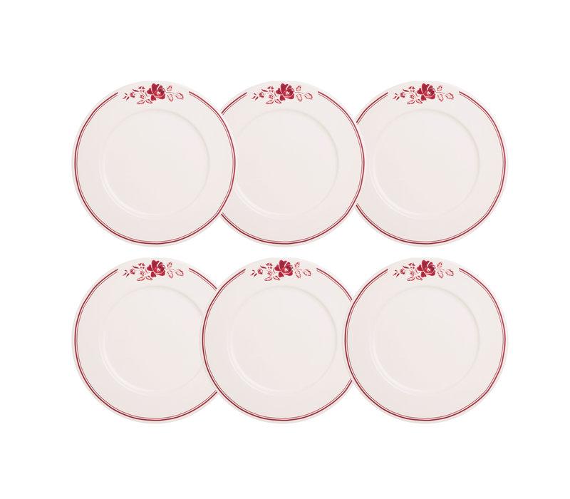Dépôt d'Argonne set 6 Dinner Plate 27cm Rose, Red