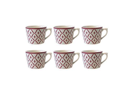 Dépôt d'Argonne Dépôt d'Argonne set of 6 Cappuccino Cup Fleur de Lys, Red
