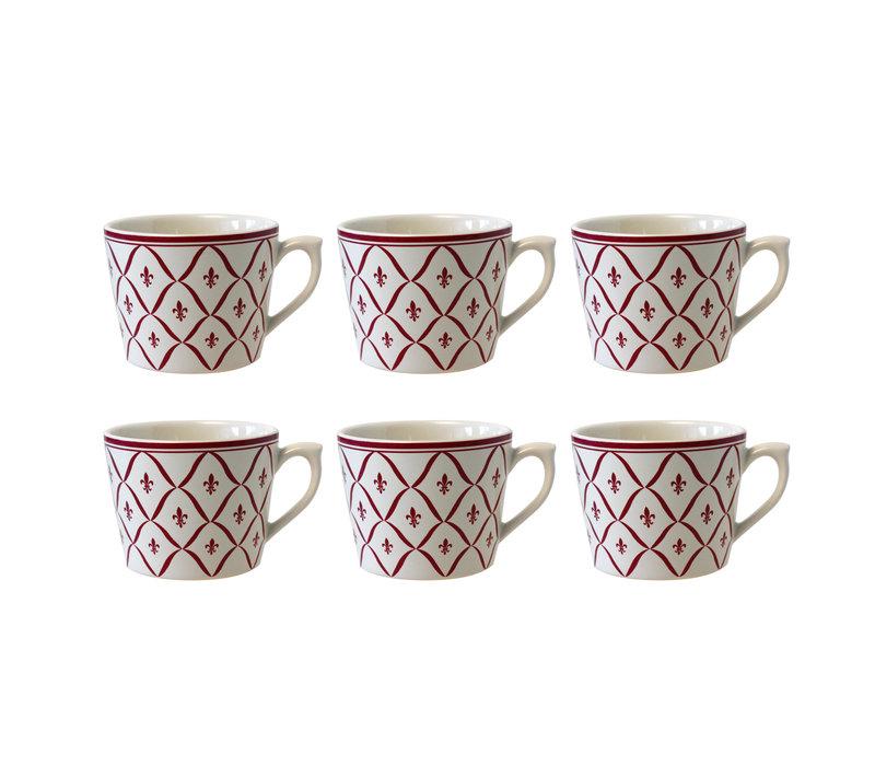 Dépôt d'Argonne set van 6 Cappuccino Kop Fleur de Lys, Rood