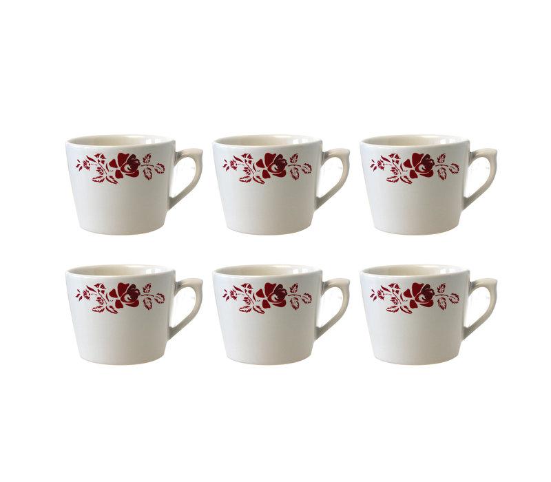 Dépôt d'Argonne set van 6 Cappuccino Kop Rose, Rood