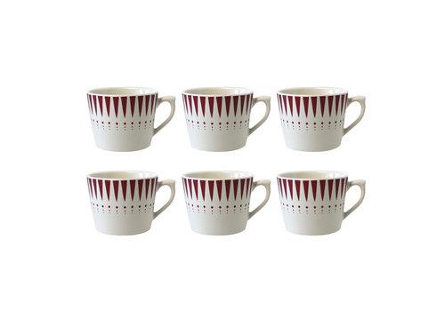Dépôt d'Argonne Dépôt d'Argonne 6er Set Cappuccino Cup Arlequin, Rot
