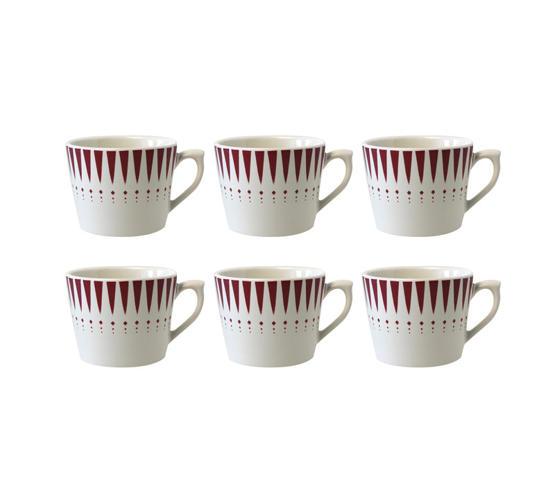 Dépôt d'Argonne set van 6 Cappuccino Kop Arlequin, Rood