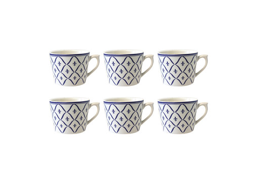Dépôt d'Argonne Dépôt d'Argonne 6er-Set Cappuccino Cup Fleur de Lys, Blau