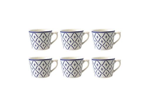Dépôt d'Argonne Dépôt d'Argonne set of 6 Cappuccino Cup Fleur de Lys, Blue