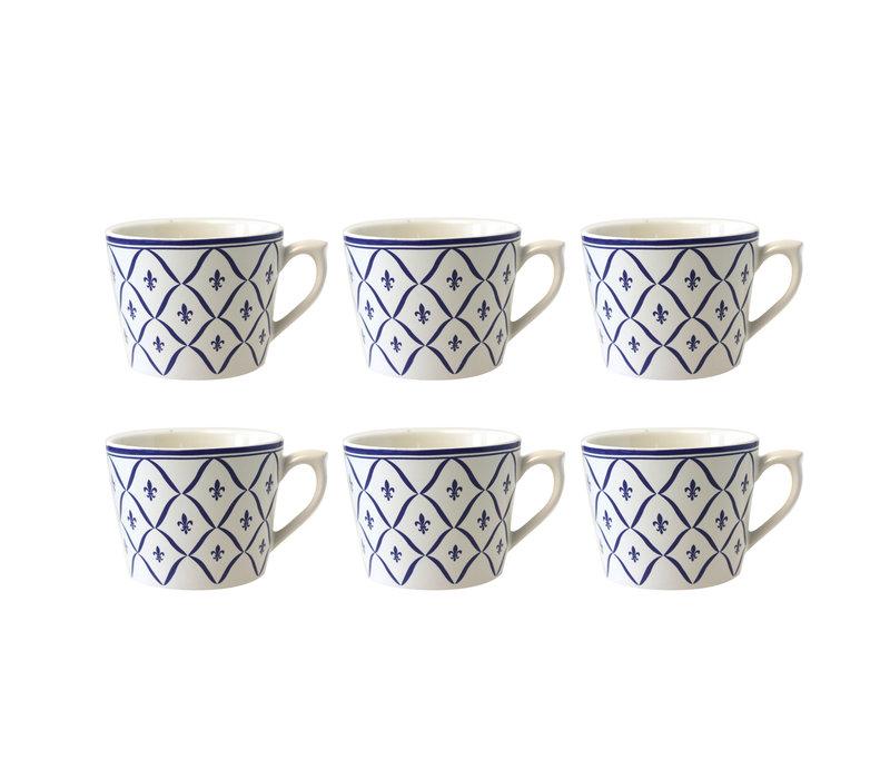 Dépôt d'Argonne 6er-Set Cappuccino Cup Fleur de Lys, Blau
