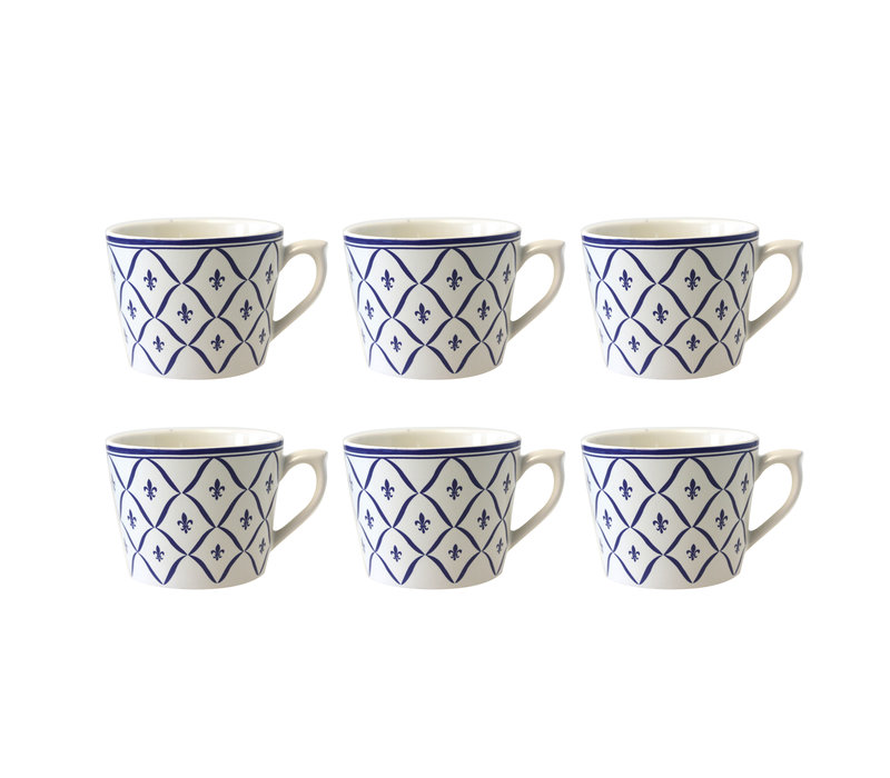 Dépôt d'Argonne set van 6 Cappuccino Kop Fleur de Lys, Blauw