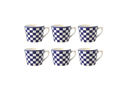 Dépôt d'Argonne Dépôt d'Argonne 6er-Set Cappuccino Cup Damier, Blau