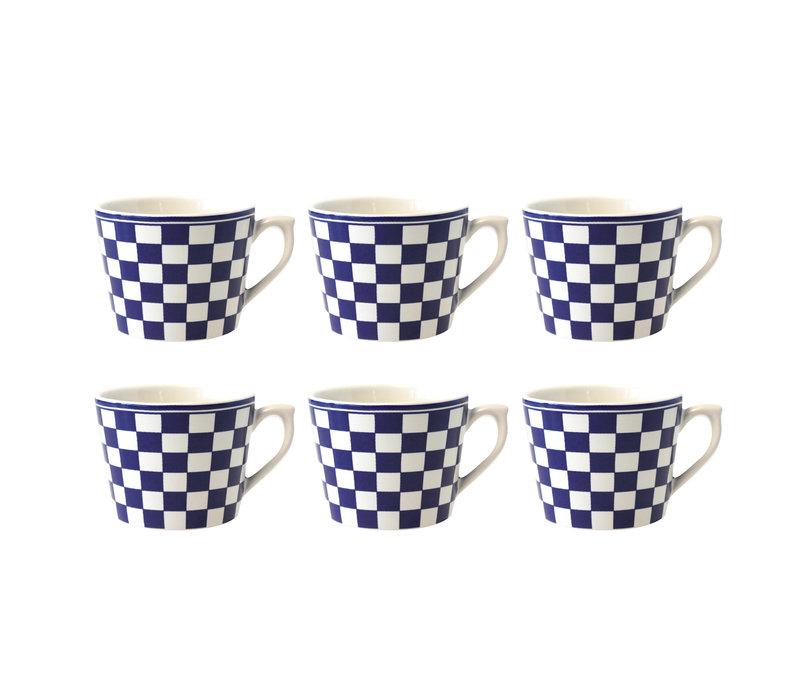 Dépôt d'Argonne set van 6 Cappuccino Kop Damier, Blauw