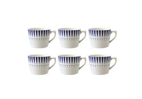 Dépôt d'Argonne Dépôt d'Argonne set of 6 Cappuccino Cup Arlequin, Blue