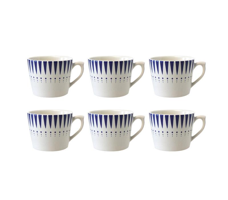 Dépôt d'Argonne set van 6 Cappuccino Kop Arlequin, Blauw