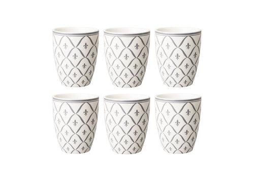 Dépôt d'Argonne Dépôt d'Argonne set of 6 Cup Fleur de Lys, Gray