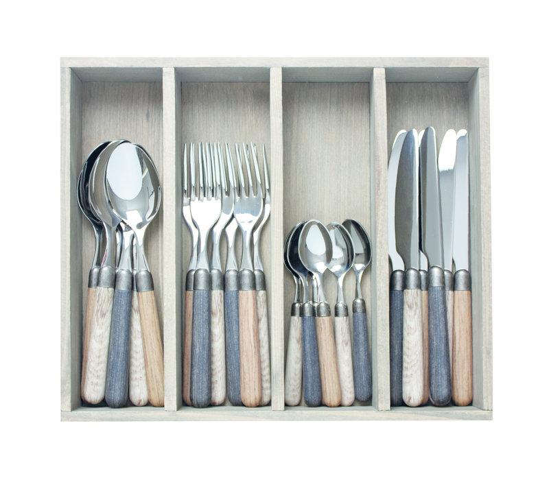 "Antique Wood 24-piece Dinner Cutlery ""Regular Mix"" in Box"