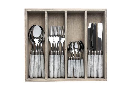 """Kom Amsterdam Antique Wood 24-piece Dinner Cutlery """"Birch"""" in Box"""