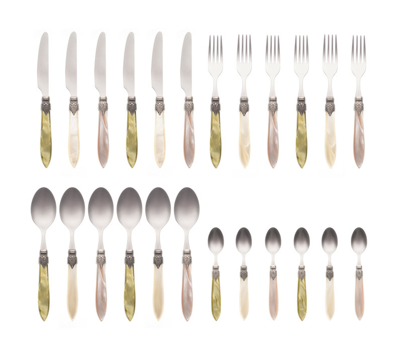 """Murano 24-piece Dinner Cutlery """"Meadow Mix"""" in Box"""