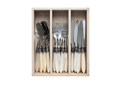 """Murano Murano 18-piece Dinner Cutlery """"Cream"""" in Box"""