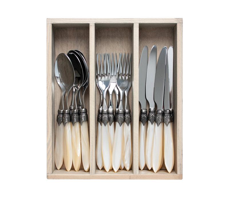 "Murano 18-piece Dinner Cutlery ""Cream"" in Box"