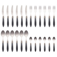 """Murano 24-piece Dinner Cutlery """"Anthracite"""" in Box"""