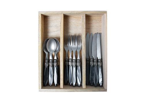 """Murano Murano 18-teiliges Frühstücksbesteck """"Anthrazit"""" in Holzbox"""