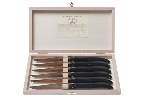 Laguiole Laguiole 6 Steak Knives 1.2 mm 'New Age Brass' in Wooden Box