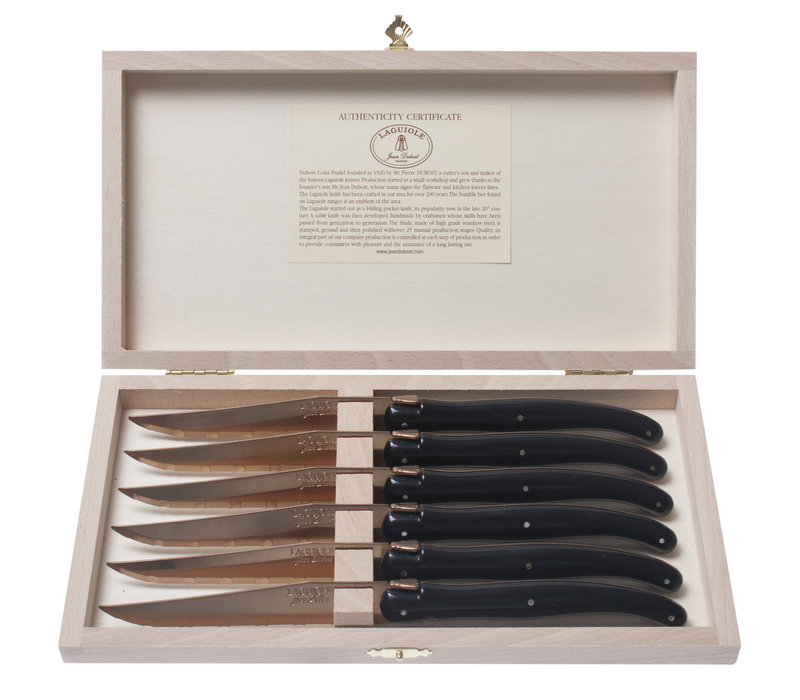 Laguiole 6 Steak Knives 1.2 mm 'New Age Brass' in Wooden Box