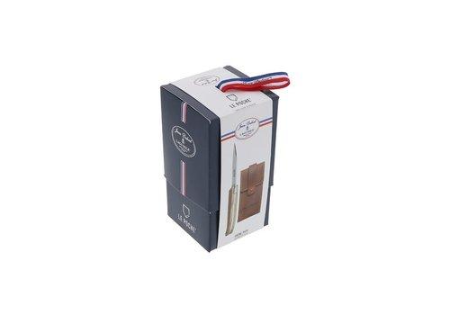 Jean Dubost Laguiole pocket knife 'Le Poche' oak with leather case