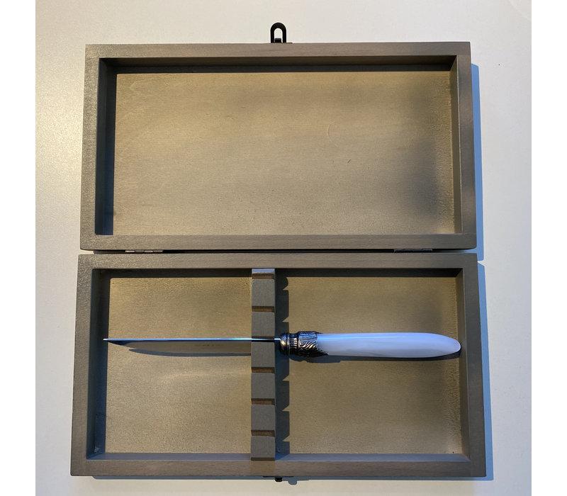Grau gebeizte Weichholzbox für 6 Steakmesser