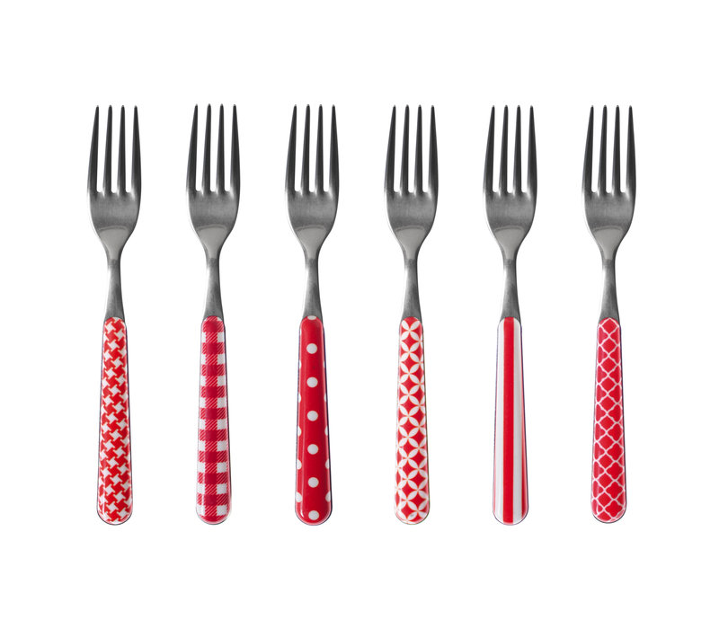 6 Cake forks 'Provence Mix' Red