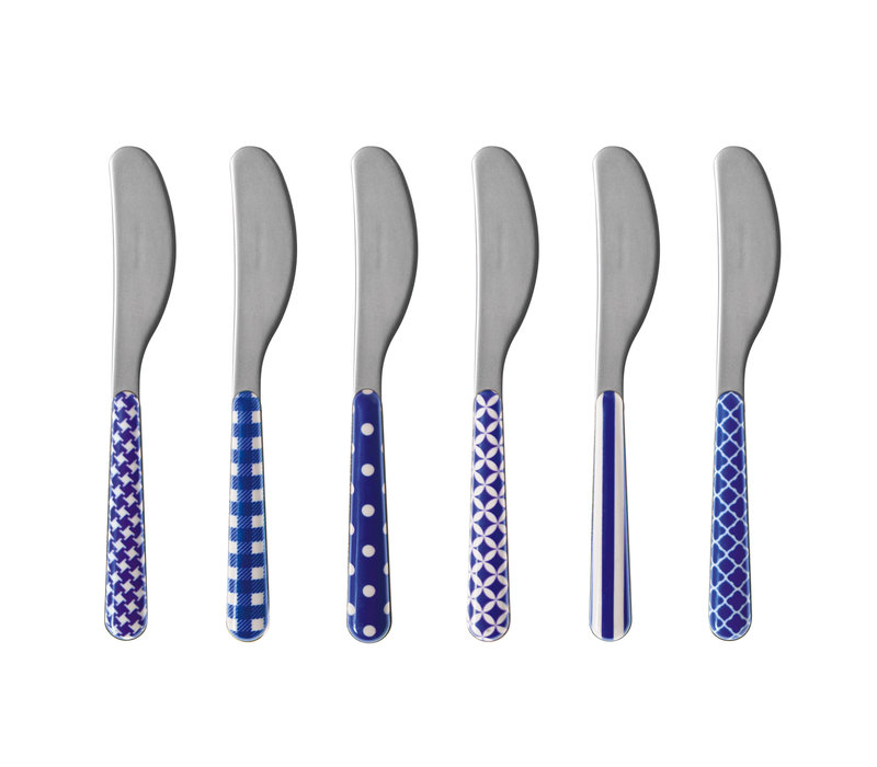 6 Butter Knives 'Provence Mix' Blue
