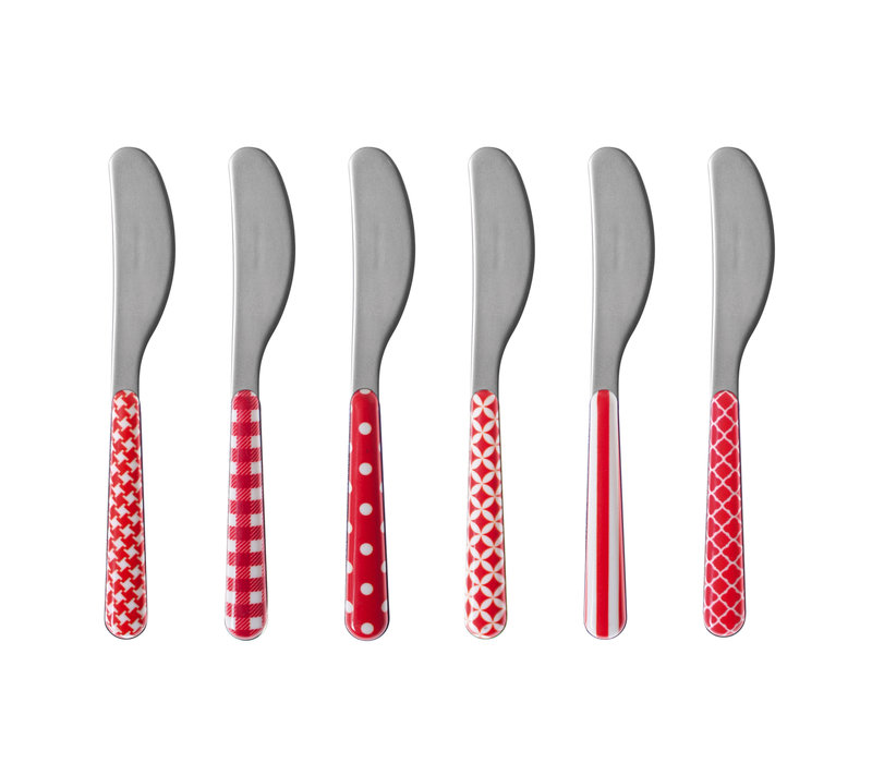 6 Butter Knives 'Provence Mix' Red