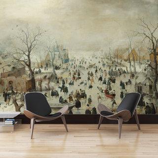 Zelfklevend fotobehang op maat - Winterlandschap met Schaatsers