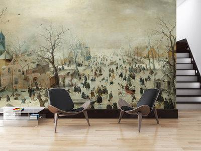 Mural Winterlandschaft mit Eisläufern