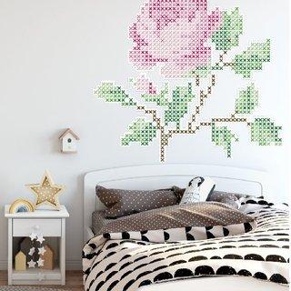 Wandaufkleber - Blumen Stickerei