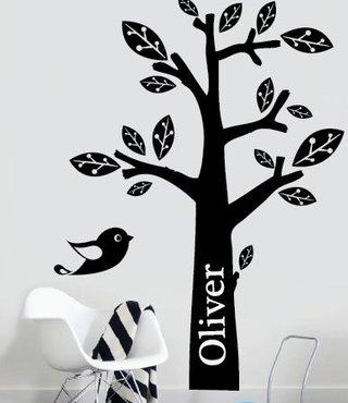 Wandtattoo Baum mit Ihrem eigenen Namen ein