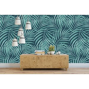 Fotobehang Palm Green and Blue
