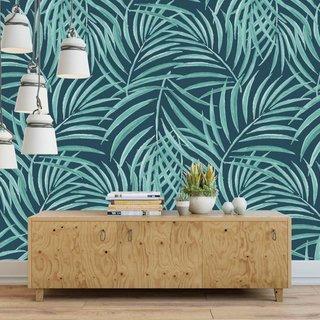 Selbstklebende Fototapete angepasst - Palm - Grün und Blau