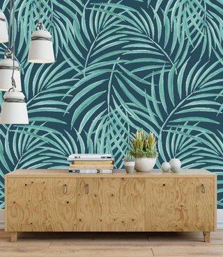 Mural Palm Grün und Blau