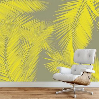 Self-adhesive photo wallpaper custom size - Duo Palm - Yellow